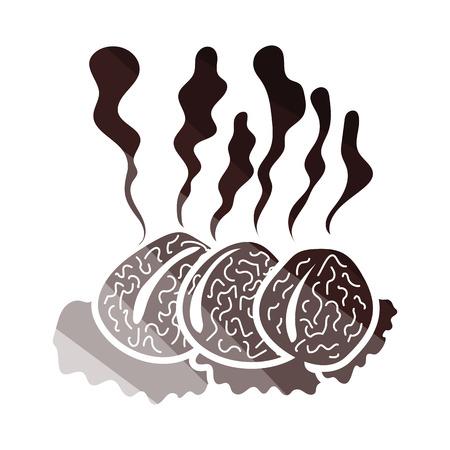Smoking cutlet icon. Flat color design. Vector illustration. Çizim