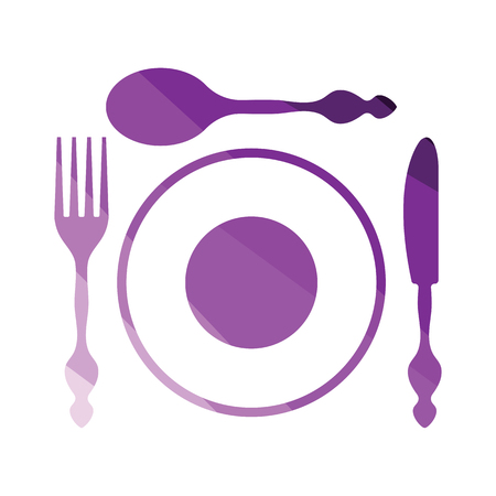 Silverware and plate icon . Flat color design. Vector illustration. Stock Illustratie