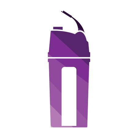 Fitness bottle icon. Flat color design. Vector illustration.