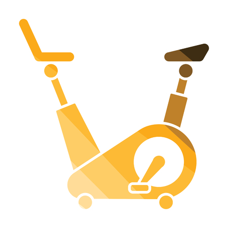Exercise bicycle icon. Flat color design. Vector illustration. Illustration
