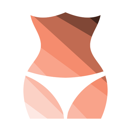 Slim waist icon. Flat color design. Vector illustration.