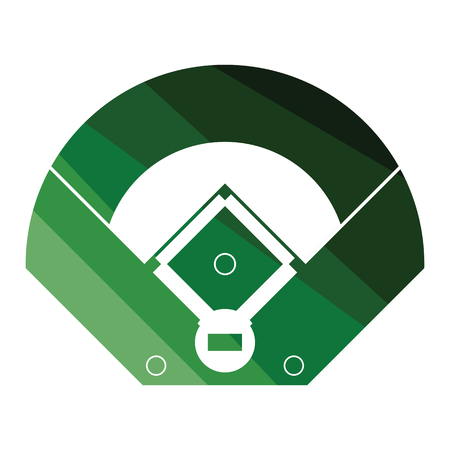 Baseball field aerial view icon. Flat color design. Vector illustration.
