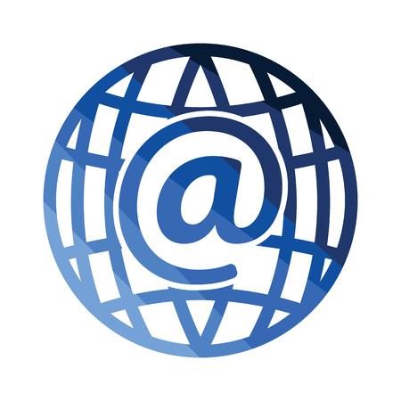 Global e-mail icon. Flat color design. Vector illustration. Illustration