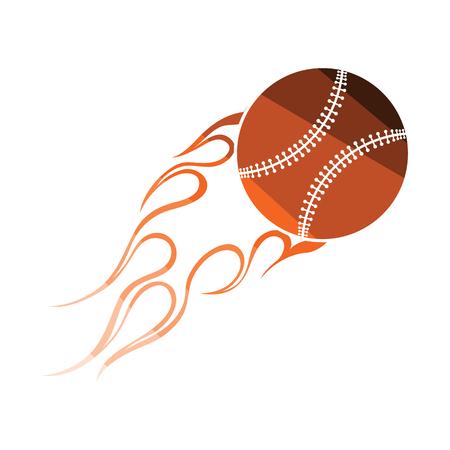 Baseball fire ball icon. Flat color design. Vector illustration.