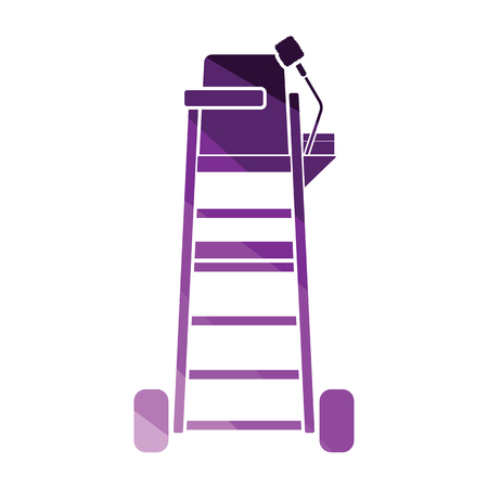 Tennis referee chair tower icon. Flat color design. Vector illustration.