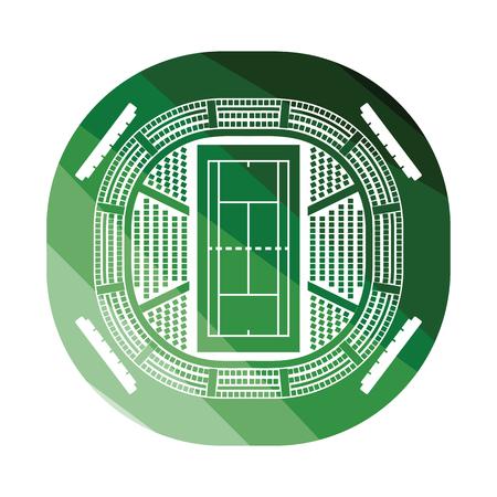 Tennis stadium aerial view icon. Flat color design. Vector illustration.