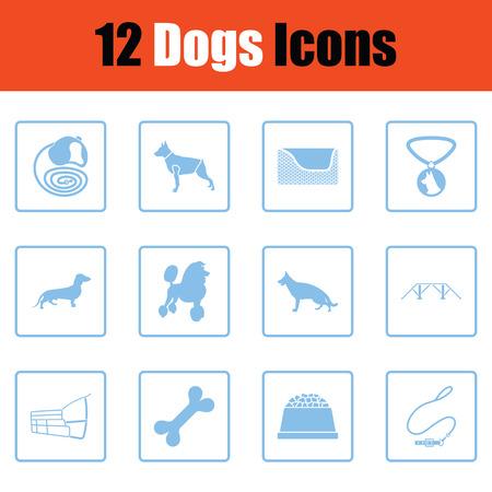 Jeu d'icônes de chiens. Conception de cadre bleu. Illustration vectorielle.