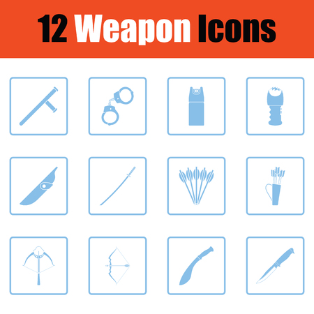 Set of twelve weapon icons. Blue frame design. Vector illustration.
