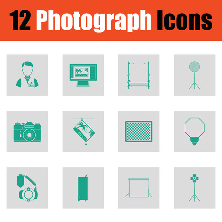 Photography icon set. Green on gray design. Vector illustration.
