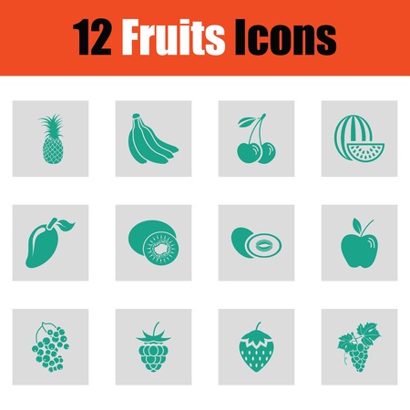 Set of fruits icons. Green on gray design. Vector illustration.