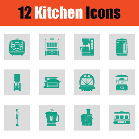Kitchen icon set. Green on gray design. Vector illustration. Stock Illustratie