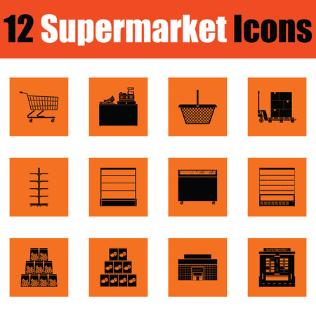 Supermarket icon set. Orange design. Vector illustration.