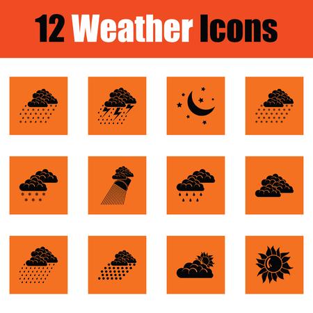 Set of weather icons. Orange design. Vector illustration. 일러스트