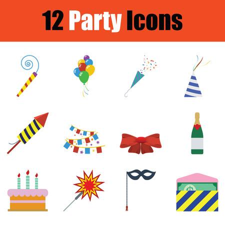 Party icon set. Color design. Vector illustration.