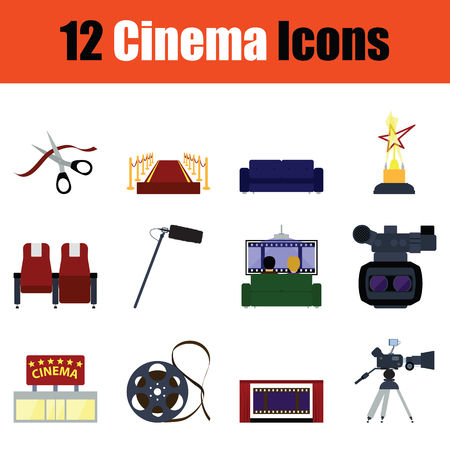 Cinema icon set. Color  design. Vector illustration.