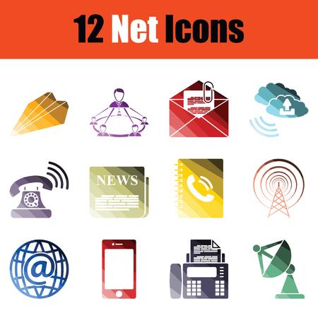 Set of communication icons. Gradient color design. Vector illustration.