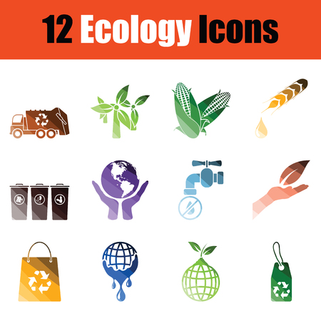 Set of Ecology icons. Gradient color design. Vector illustration.