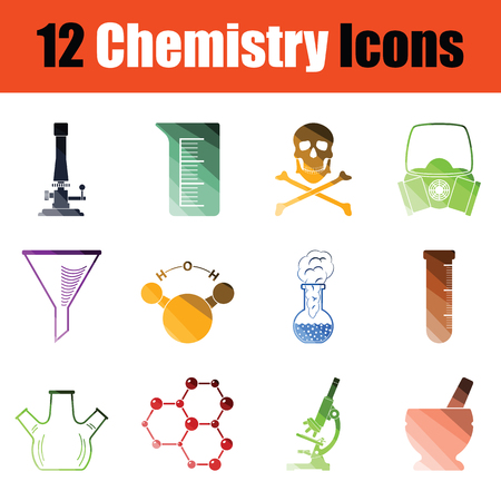 Set of chemistry icons. Gradient color design. Vector illustration.