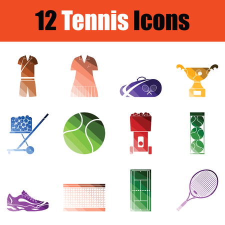 Set of Tennis icons. Gradient color design. Vector illustration. Çizim