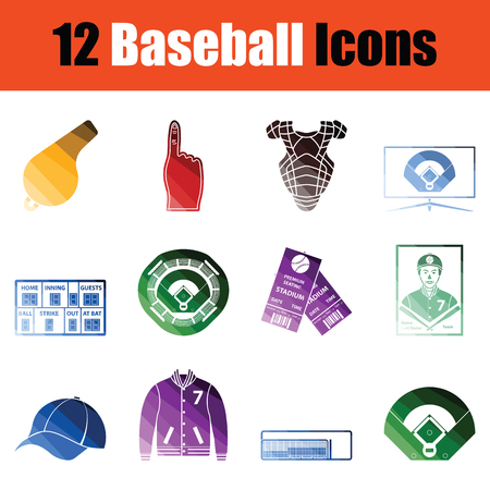 Set of Baseballl icons. Gradient color design. Vector illustration.