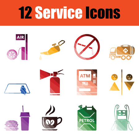 Set of service icons. Gradient color design. Vector illustration.