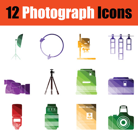 Set of Photography icons. Gradient color design. Vector illustration. Stok Fotoğraf - 106251057