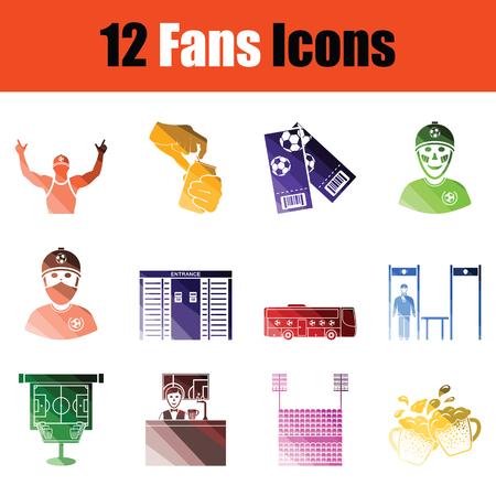 Set of soccer fans icons. Gradient color design. Vector illustration.