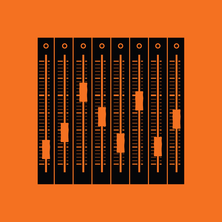 Music equalizer icon. Orange background with black. Vector illustration. Ilustração