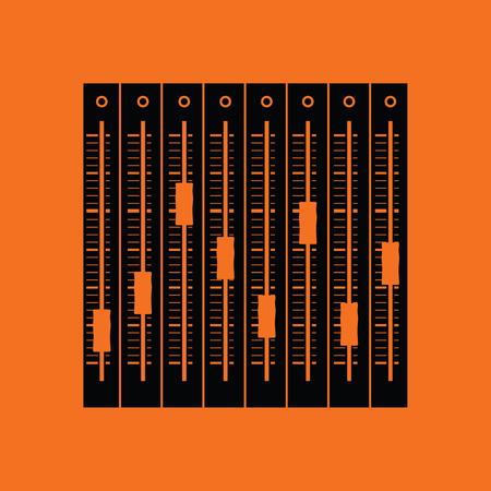 Music equalizer icon. Orange background with black. Vector illustration. Illustration