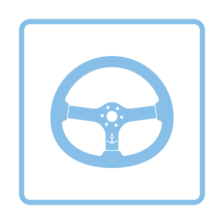 Icon of  steering wheel . Blue frame design. Vector illustration.