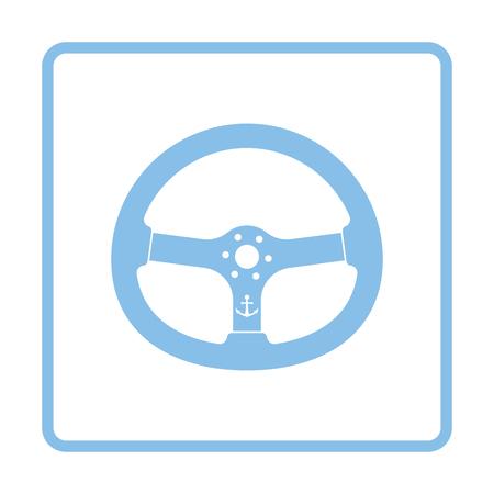 Icon of  steering wheel . Blue frame design. Vector illustration.