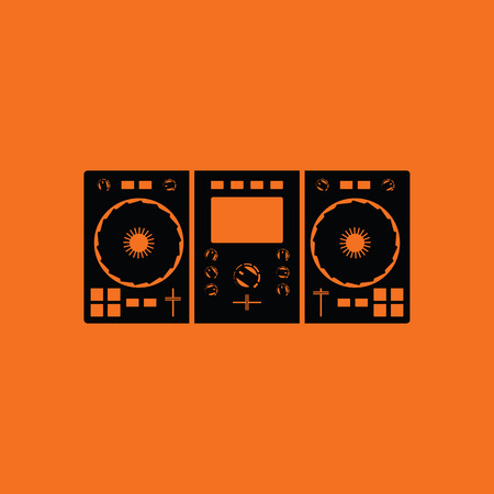 DJ icon. Orange background with black. Vector illustration.