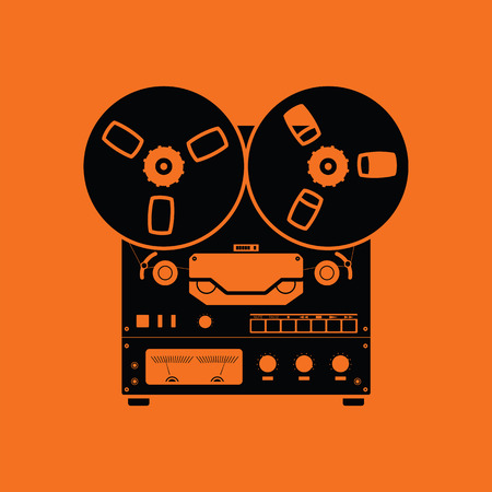Reel tape recorder icon. Orange background with black. Vector illustration.