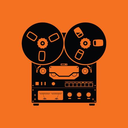 Icône de magnétophone à bobine. Fond orange avec du noir. Illustration vectorielle. Vecteurs