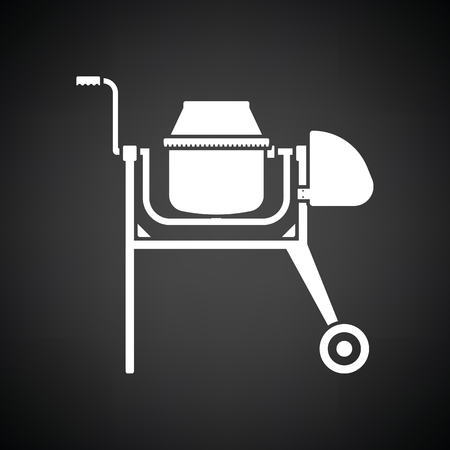 Icon of Concrete mixer. Black background with white. Vector illustration.