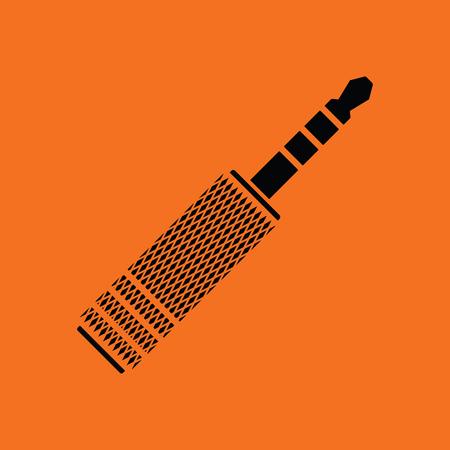 Music jack plug-in icon. Orange background with black. Vector illustration.