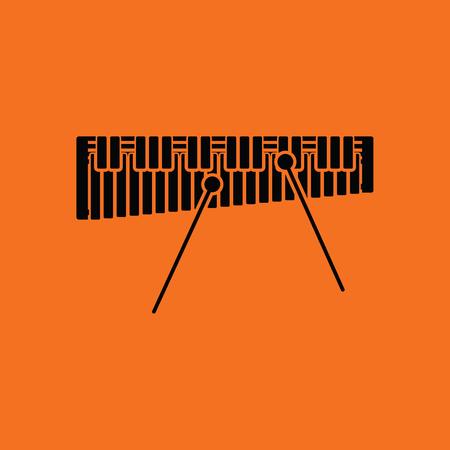 Xylophone icon. Orange background with black. Vector illustration. Vettoriali