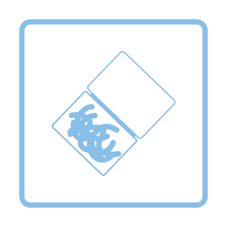 Icon of worm container. Blue frame design. Vector illustration.