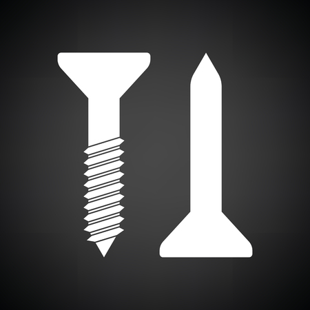 Icon of screw and nail. Black background with white. Vector illustration.