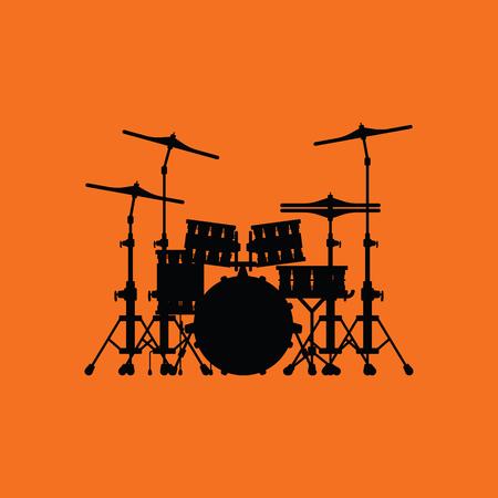 Drum set icon. Orange background with black. Vector illustration.  イラスト・ベクター素材