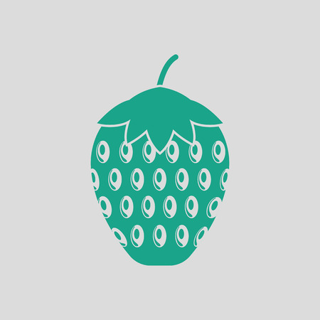 Icon of Strawberry. Gray background with green. Vector illustration.
