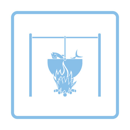 Icon of fire and fishing pot. Blue frame design. Vector illustration. Ilustracja