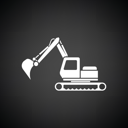 Icon of construction excavator. Black background with white. Vector illustration.