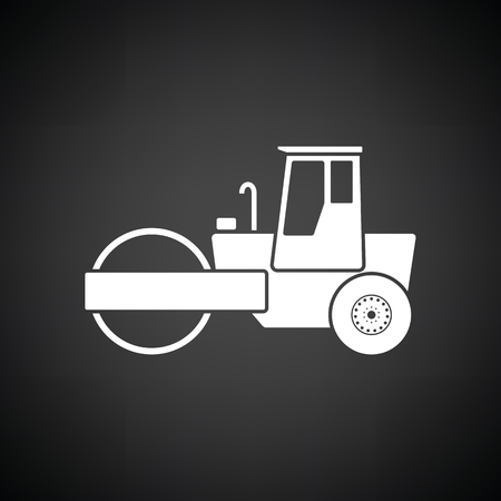 Icon of road roller. Black background with white. Vector illustration.
