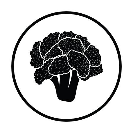 Cauliflower icon. Thin circle design. Vector illustration. Vetores