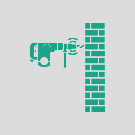 Icon of perforator drilling wall. Gray background with green. Vector illustration. Ilustração