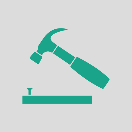 Icon of hammer beat to nail. Gray background with green. Vector illustration. Stock Illustratie