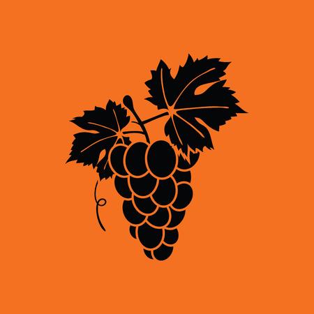 Icon of Grape. Orange background with black. Vector illustration. Ilustração