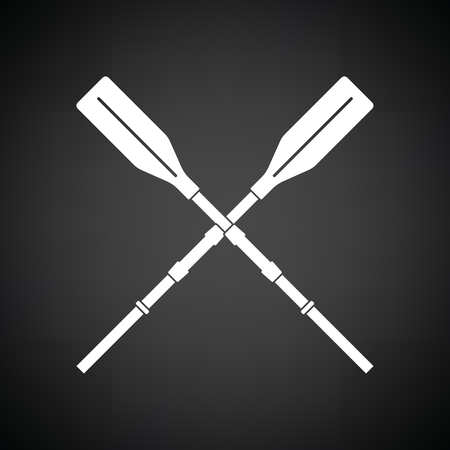 Icon of boat oars. Black background with white. Vector illustration. Vecteurs
