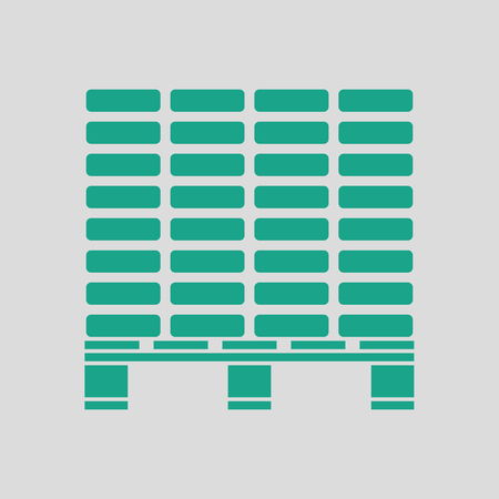 Icon of construction pallet . Gray background with green. Vector illustration.